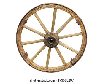 Antique Cart Wheel made of wood and iron-lined isolated over white