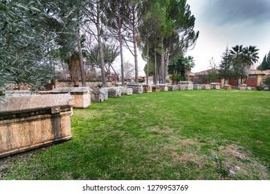 The antique carved Sarcophagus, Afrodisias Ancient city  (Aphrodisias) was named after Aphrodite, the Greek goddess of love.  Karacasu - Aydın, TURKEY