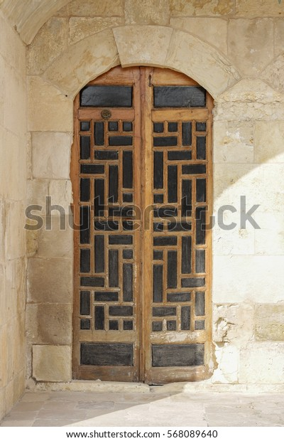 Antique carved wooden door, arabesque style, lebanese
