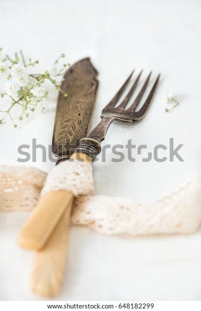 Antique Carving Knife Fork Set Vintage Stock Photo (Edit Now