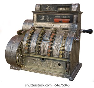 An antique cash register isolated on white.