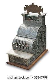 antique cash register on white with shadow and clipping path