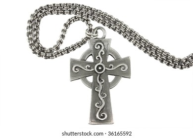 Antique Celtic cross on a double link silver chain
