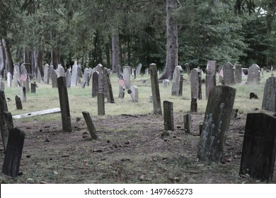 Antique cemetary in New England with headstone dating back to the 1400's