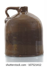 Antique ceramic jug on white background