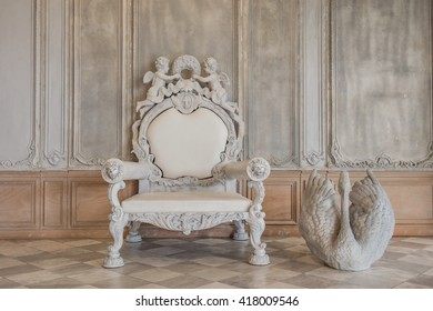antique chair antique  Swan statue