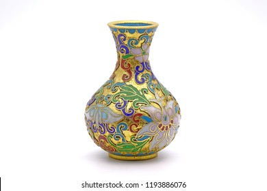Antique Chinese Cloisonne enamel vase isolated on white background