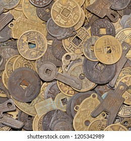 Antique Chinese coins on a flea market, Beijing, China.