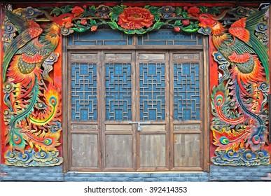 Antique Chinese doors at Fenghuang, Hunan, China