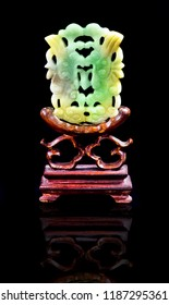 Antique Chinese green and yellow jade screen made in the 1800's.