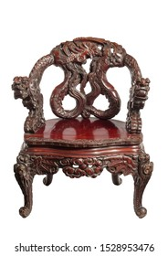 Antique Chinese rosewood hardood chair carved with dragons isolated on white