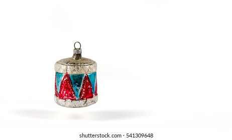 Antique Christmas Drum Ornament on a white background