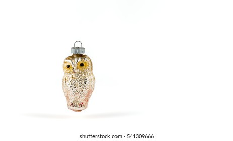 Antique Christmas Owl Ornament on a white background