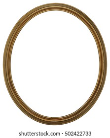 Antique Classic Oval Golden thin Frame, isolated on white background. High Resolution and High Quality for print.