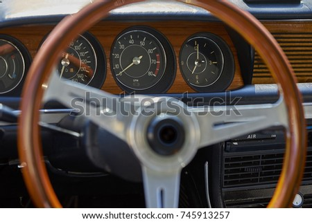 Antique Classic Wood Steering Wheel Dashboard Stock Photo Edit Now
