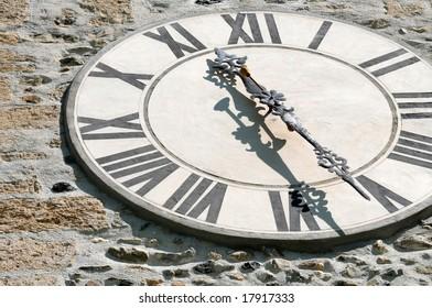 Antique clock of an old swiss church