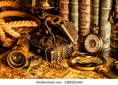 Antique clock on the background of a magnifying glass, treasure chest with gold and books. Vintage style. 1565 old map of the year.