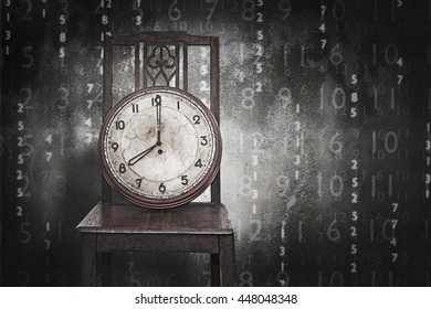 Antique clock on old wooden chairs. , Line of business must race against the clock.