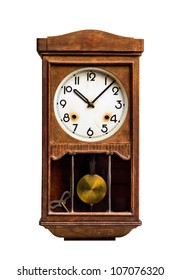 Antique clock on a white background.