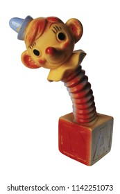 Antique clown jack in the box toy