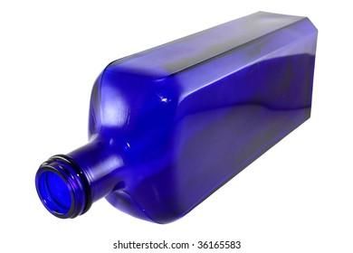 Antique cobalt blue bottled isolated