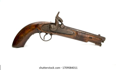 Antique Colonial Percussion Pistol, believed to be local militia issue circa 1850. This is a single shot muzzle loading holster pistol with a percussion lock