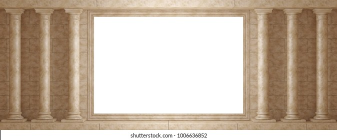 Antique Colonnade on background wall with decorative frame. Mock up frame of the classic columns 3D Render