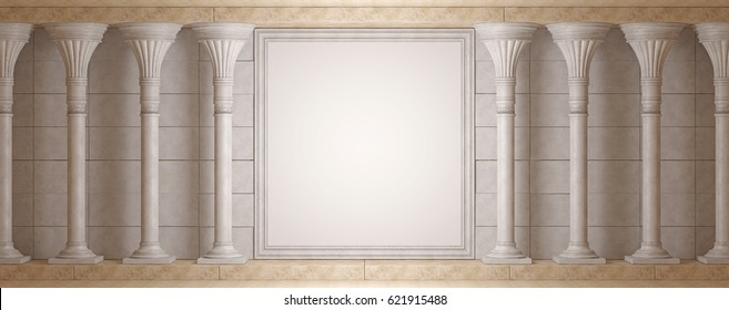 Antique Colonnade on background wall with decorative frame. 3D Render