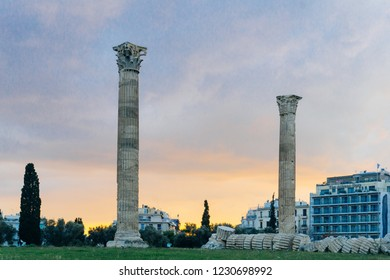 Antique columns. The ancient ruins of the Temple of Olympian Zeus in Athens (Olympieion or Columns of the Olympian Zeus) on the sunset