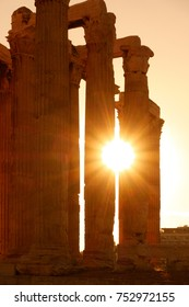 Antique columns in Athens in sunlight, Greece