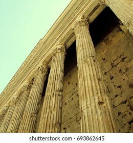 Antique columns in Rome, Italy. Square toned image