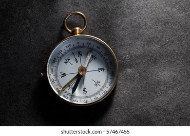 Antique compass close up shot