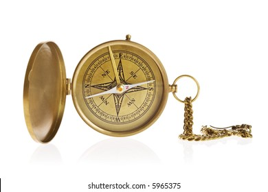 Antique compass isolated on white background