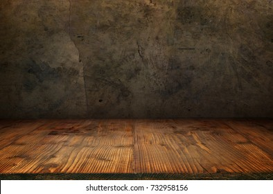 Antique concrete wall with rustic wooden floor for a concept