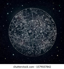 Himmelskarte der antiken Sternbilder 1850