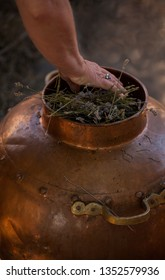 Antique copper bowl used for distillation to produce lavender essential oil. Provence, France