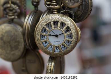 antique copper clocks for time concept.Time in ours.