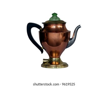 Antique copper coffee pot isolated on white