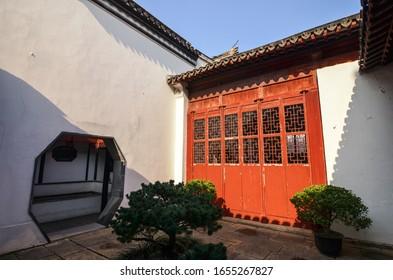 The antique courtyard in Suzhou garden in the sun