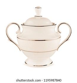 antique creamy ivory teapot. luxury ceramic beige kettle on white background