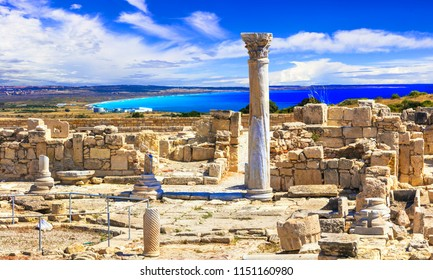 Antique Cyprus - Kourion temple over sea, popular touristic attraction and landmark