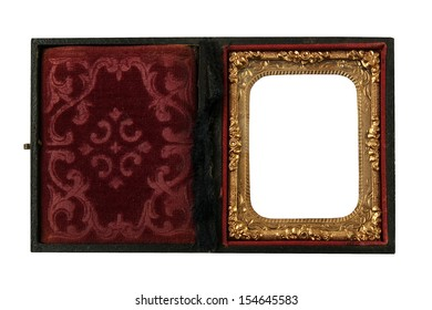 antique Daguerreotype picture box with ornate frame and secure lock on a white background