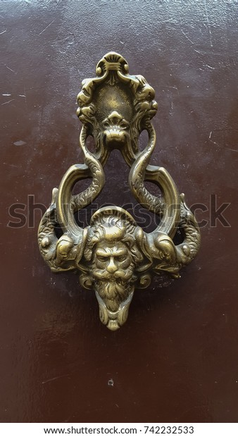 Antique Decorative Door Knockers Shape Men Stock Image