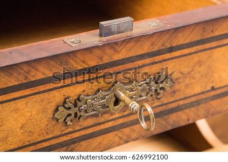Antique desk lock and key - Antique Desk Lock Key Stock Photo (Edit Now) 626992100 - Shutterstock
