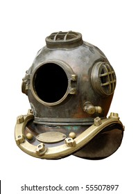 Antique diving equipment isolated with clipping path on white background