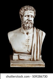 Antique doctor Hippocrates - ancient Greek physician and healer. Portrait of Hippocratic, isolated on black. He known in science as 'Father of Medicine' and author of famous 'Hippocratic Oath'.