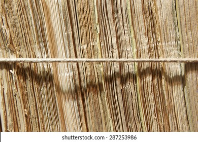 Antique documents wrapped with a string in warm tone. Horizontal