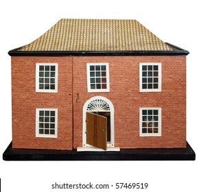 Antique Dolls House isolated with clipping path