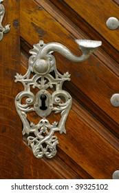 Antique door handles. Prague, Czechia