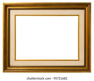 Antique double frame: gilded wood and canvas, italian style,  isolated on white background - include clipping path.